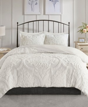 Madison Home USA Viola King/California King 3 Piece Tufted Cotton Chenille Damask Duvet Cover Set Bedding