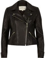 River Island Womens Black leather quilted biker jacket