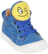 Ocra Smiley Patches Metallic Leather Sneakers