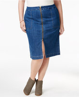 Style&Co. Style & Co Plus Size Zip-Front Lake Wash Denim Skirt, Only at Macy's