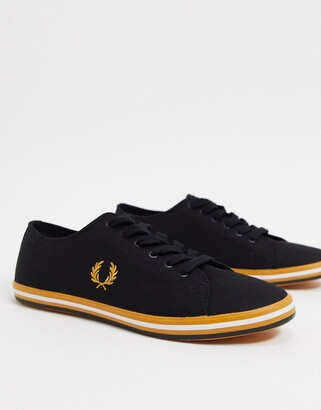 Fred Perry Kingston canvas plimsolls with contrast sole in black