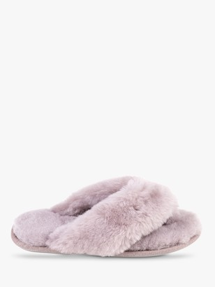 Just Sheepskin Rose Toe Post Slippers, Dove Grey