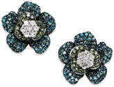 Wrapped in Love Blue and Green Diamond (1 ct. t.w.) Flower Stud Earrings in 14K White Gold