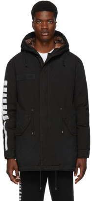 Mr & Mrs Italy Black Cotton Canvas Hooded Coat