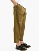 J.w. Anderson Khaki Pleated Cotton Trousers