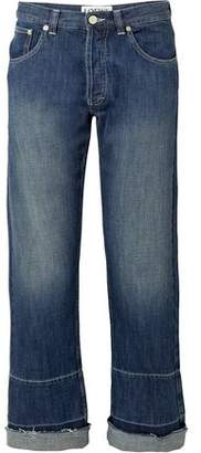 Loewe Cropped Embroidered Faded Mid-rise Wide-leg Jeans