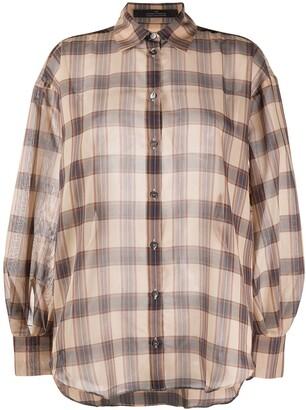 Rokh Check-Print Oversized Shirt