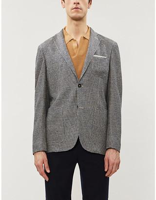 SLOWEAR Montedoro slim-fit houndstooth-pattern linen blazer