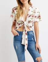 Charlotte Russe Floral Tie-Front Top