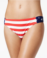 California Waves Ruched Stars-and-Stripes Hipster Bikini Bottom