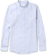 Richard James Slim-Fit Grandad-Collar Striped Linen Shirt