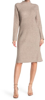 Stitchdrop Funnel Neck Ribbed Knit Sweater Dress