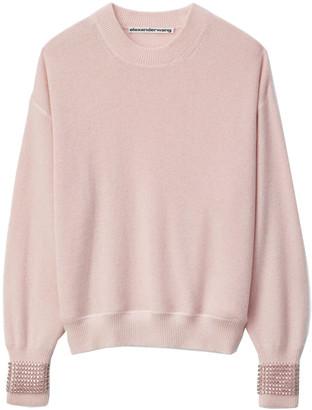 Alexander Wang Crewneck Sweater With Crystal Cuff Pink
