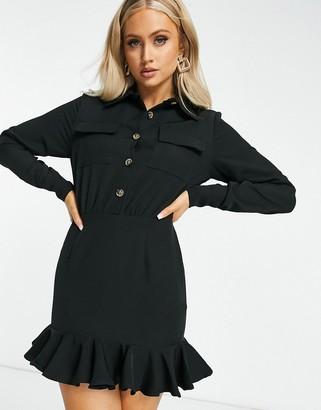 I SAW IT FIRST frill hem utility shirt dress in black