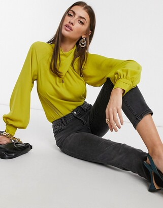 ASOS DESIGN long sleeve top with twist neck detail in chartreuse-No Color
