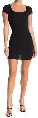 Luna Chix Square Neck Short Sleeve Ribbed Mini Dress