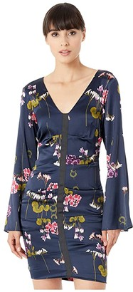 Nicole Miller Lilypad Bell Sleeve Dress (Navy) Women's Dress