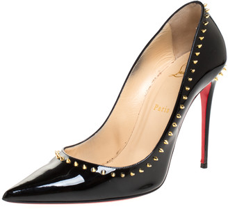 Christian Louboutin Black Patent Leather Anjalina Spike Pointed Toe Pumps Size 40
