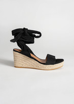 And other stories Suede Lace Up Espadrille Wedges