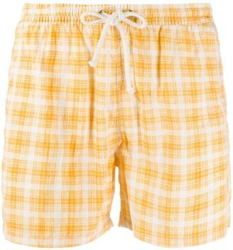 Kiton Plaid Print Swim Shorts