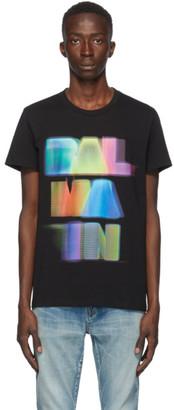Balmain Black and Multicolor Logo T-Shirt