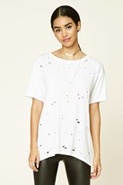 Forever 21 FOREVER 21+ Distressed Raw-Cut Longline Tee