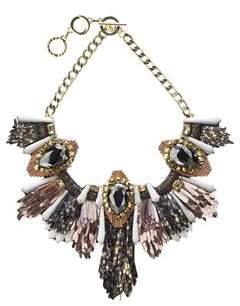 Forest of Chintz Disco Jungle Pink Bronze Fringe Necklace