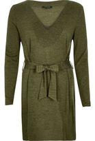 River Island Womens Khaki belted V-neck tunic