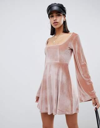 Asos Design DESIGN mini velvet skater dress with bust seaming-Pink
