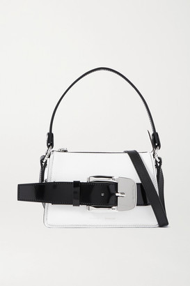 Proenza Schouler Buckle Small Patent-trimmed Textured-leather Shoulder Bag - White