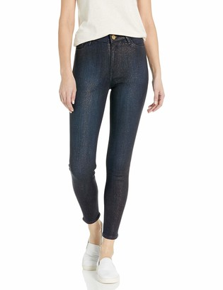 True Religion Women's CAIA High Rise Skinny Leg fit Jean with All Over Gold Glitter Denim Wash