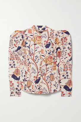 Ulla Johnson Harriet Floral-print Cotton-poplin Blouse - Ecru