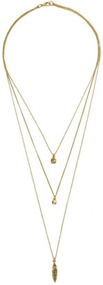 Karine Sultan 24K Gold Plated Bohemian Triple Layered Necklace