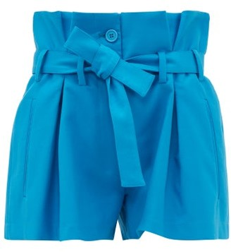 ATTICO The Paperbag-waist Pleated Cotton-blend Shorts - Womens - Blue