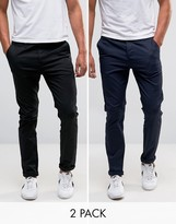 Asos 2 Pack Slim Chinos In Black And Navy