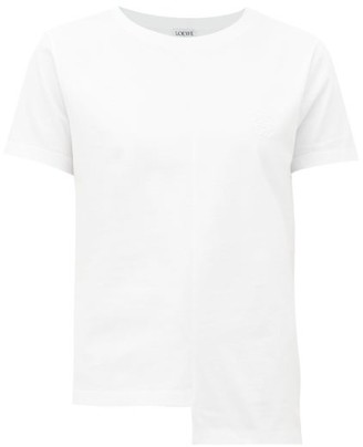 Loewe Asymmetric-hem Logo-embroidered Cotton T-shirt - Womens - White
