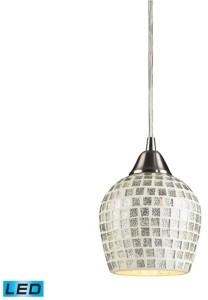 Elk Lighting 1 Light Pendant in Satin Nickel and Silver Mosaic Glass - Led Offering Up To 800 Lumens (60 Watt Equvivalent)