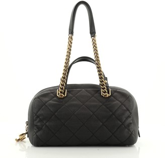 Chanel Chic Chain Bowling Bag Quilted Caviar Medium