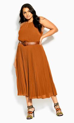 City Chic Halter Pleat Dress - caramel
