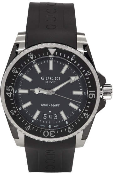 Gucci Black Rubber XL Dive Watch