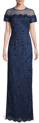JS Collections Illusion Short-Sleeve Embroidery Gown