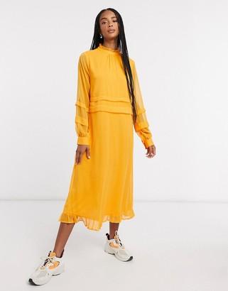 Vila high neck midi dress in apricot