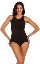 Penbrooke Women's Krinkle Chlorine-Proof High Neck Maillot One Piece Swimsuit