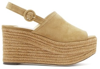 Jimmy Choo Deya Suede Platform Sandals - Tan