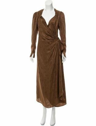 ATTICO Jacquard Maxi Dress Brown