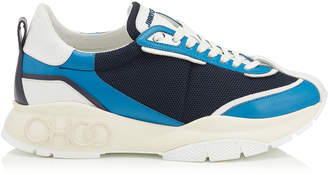 Jimmy Choo RAINE/M Aqua Navy and White Suede with Mesh Chunky Sneaker