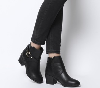 Office Angelina Block Heel Strap Ankle Boots Black