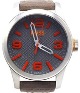 HUGO BOSS Paris Stainless Steel Beige Leather Strap Watch, 1513351 Men's Beige