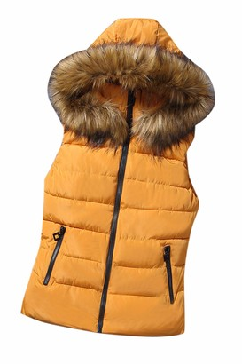 Zilcremo Women Winter Hooded Quilted Padding Puffer Vest Gilet Jacket Outwear Yellow M