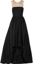 Marchesa Tulle-trimmed embellished cotton-blend gown